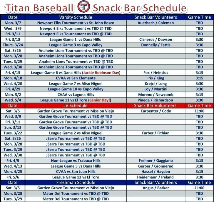 Baseball Game Schedule Template