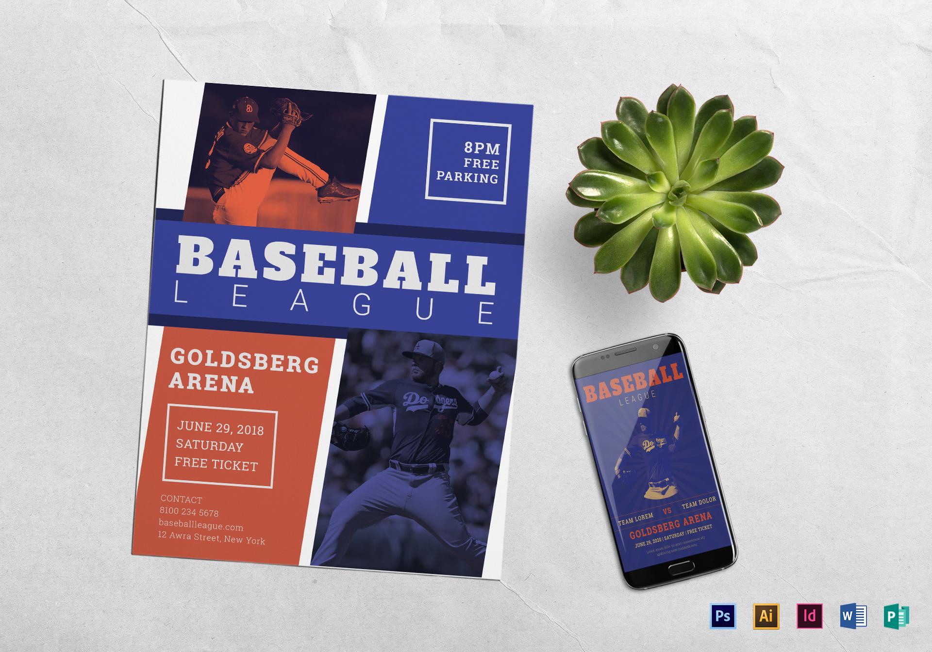 Baseball League Flyer Template