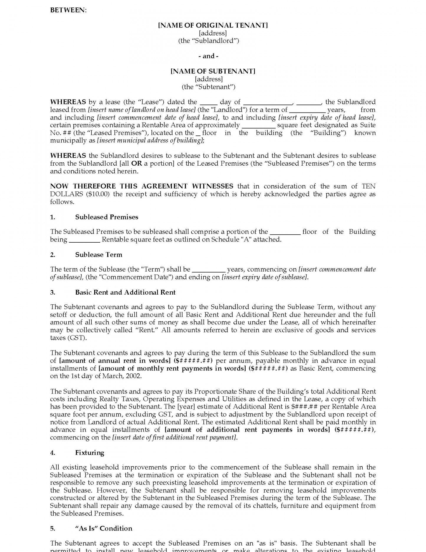 Basic Commercial Sublease Agreement Template
