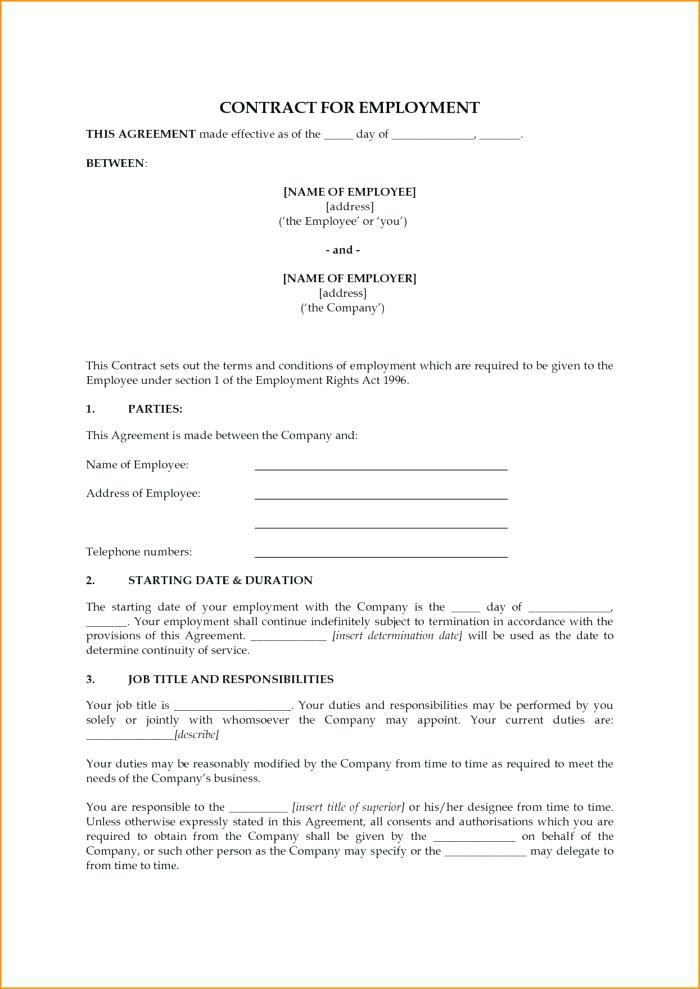 Basic Employment Contract Template Free Uk