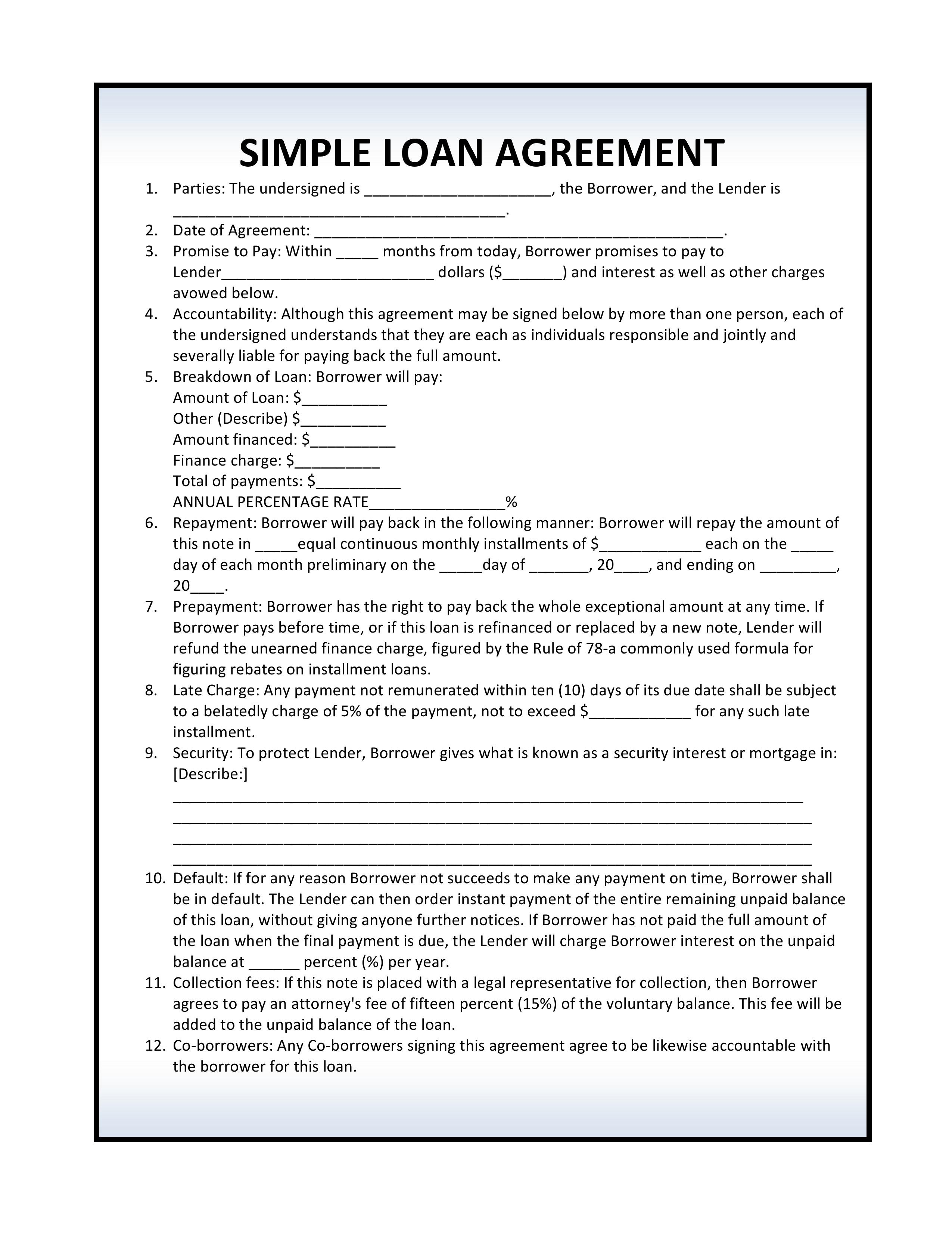 Basic Loan Agreement Template