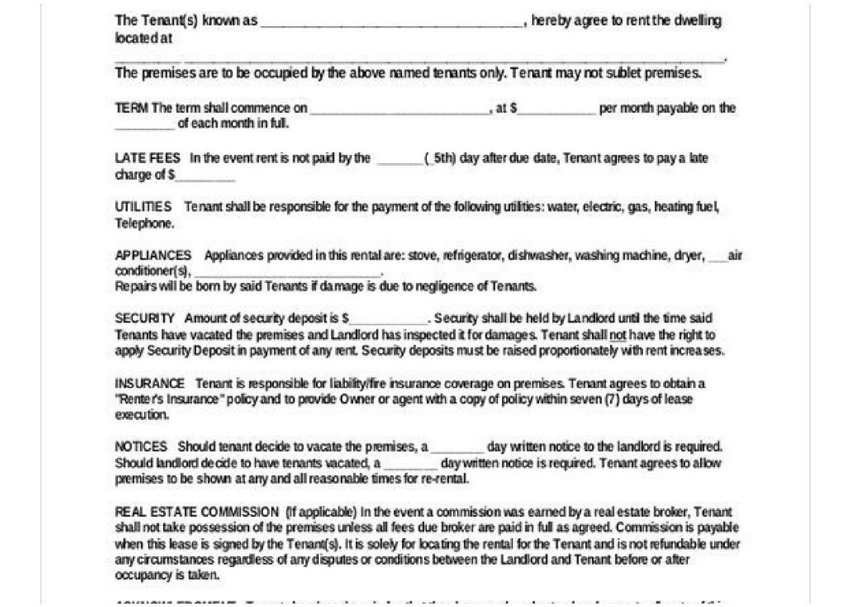 Basic Rental Agreement Document