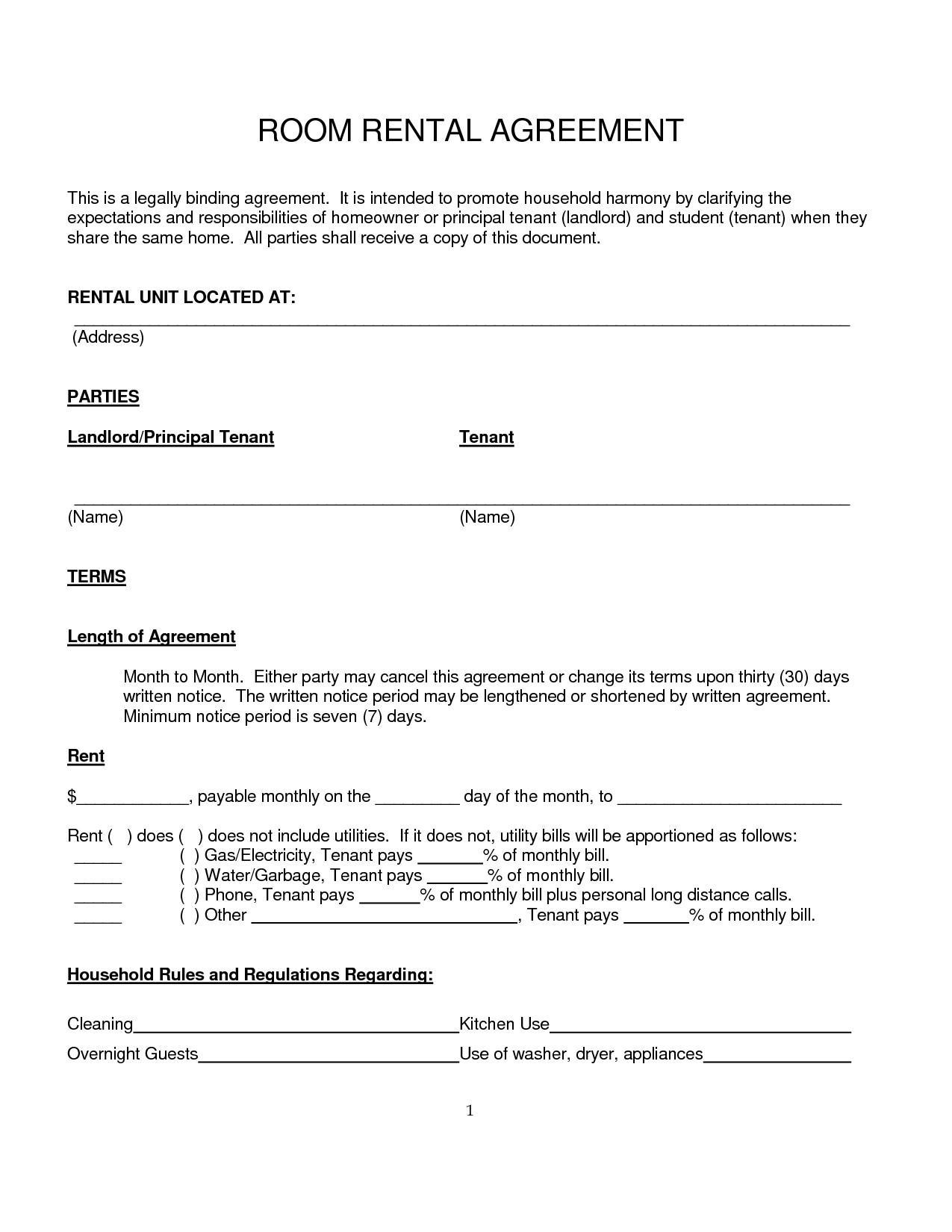 Basic Room Rental Agreement Template