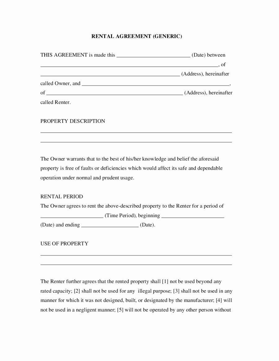 Basic Vehicle Rental Agreement Template
