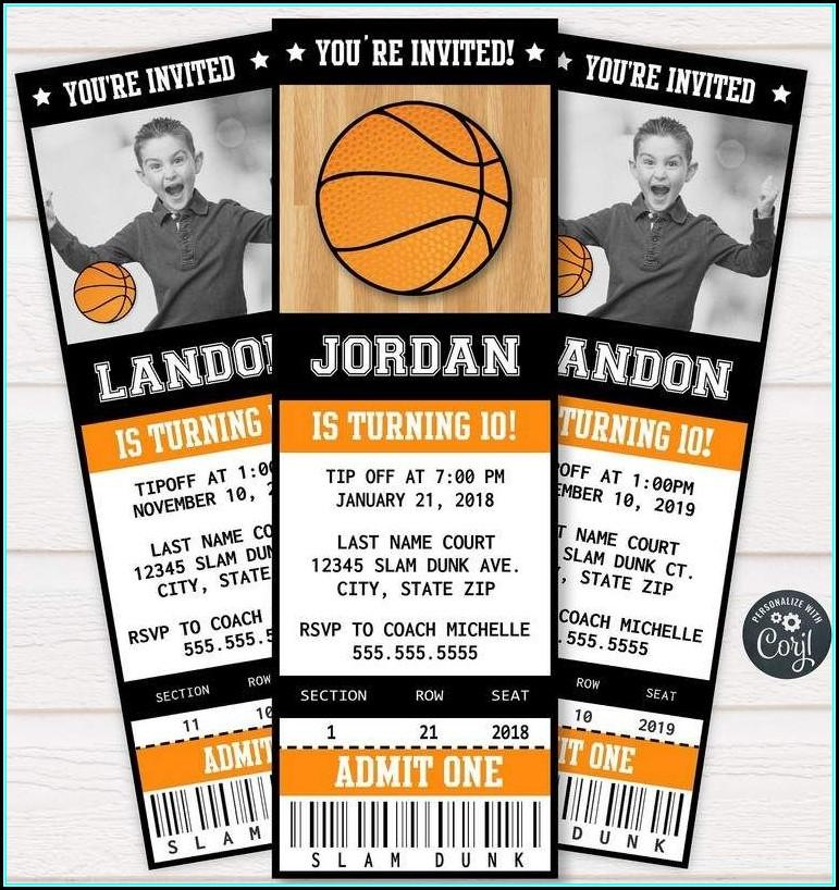 Basketball Ticket Invitation Template Free