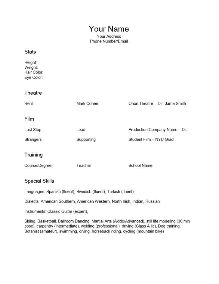 Beginner Acting Resume Template