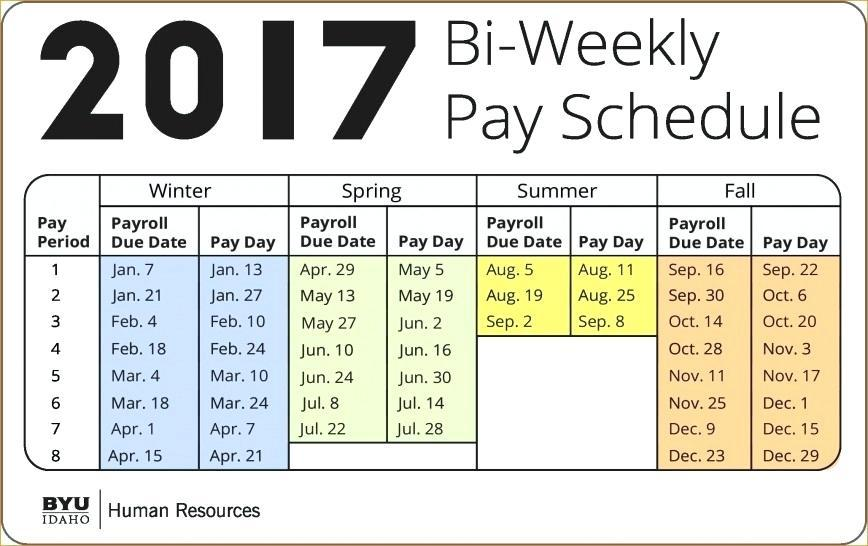 Bi Weekly Payroll Calendar 2017 Template