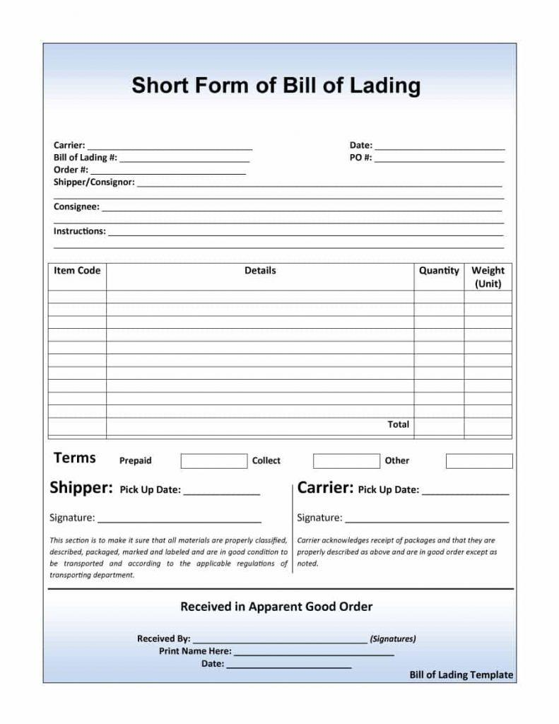 Bill Of Lading Template Printable