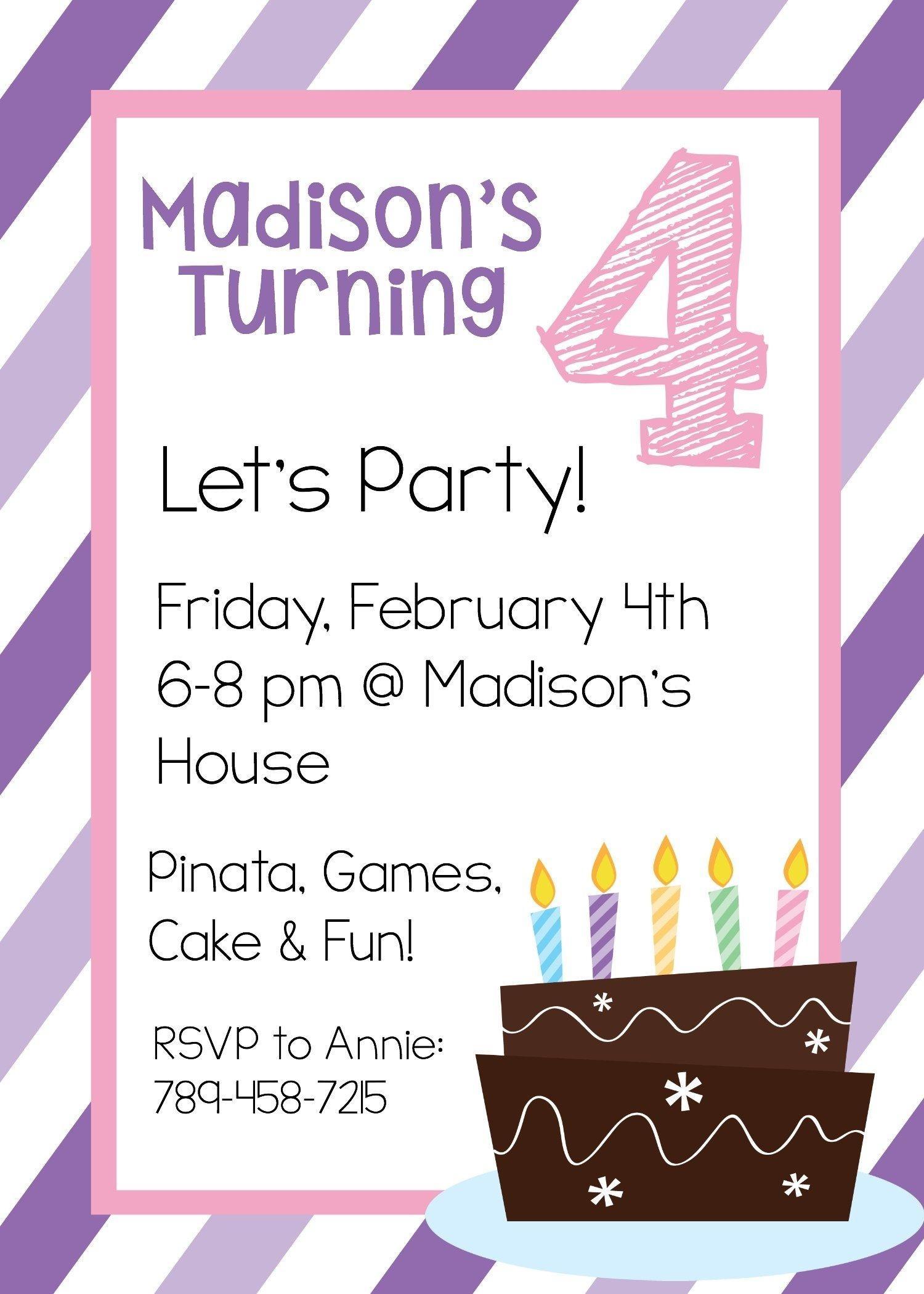 Birthday Party Invitation Template Girl