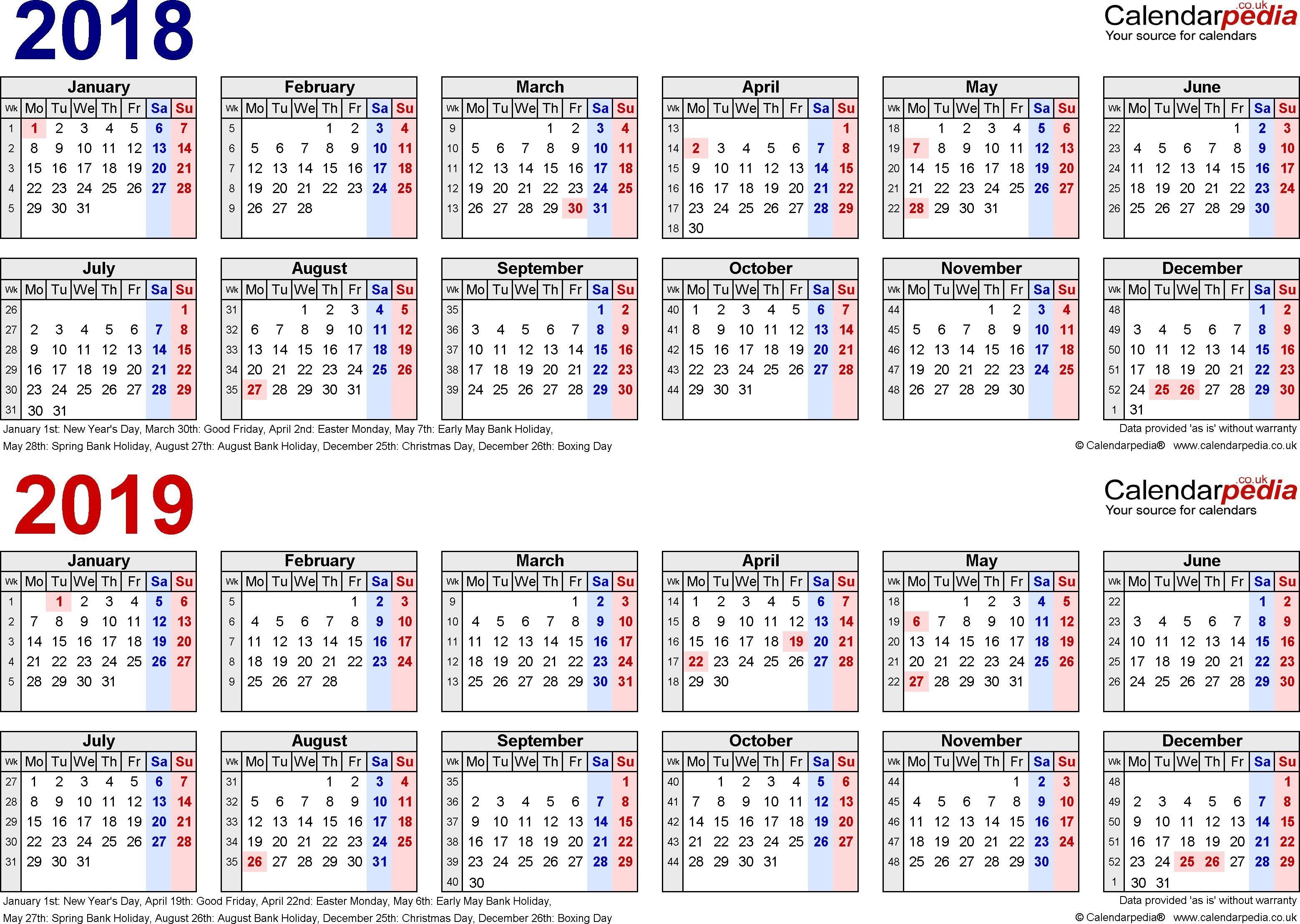 Biweekly Payroll Calendar Template 2019