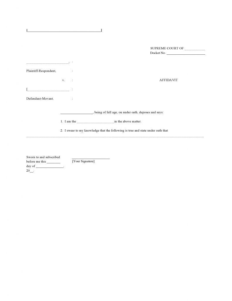 Blank Affidavit Template