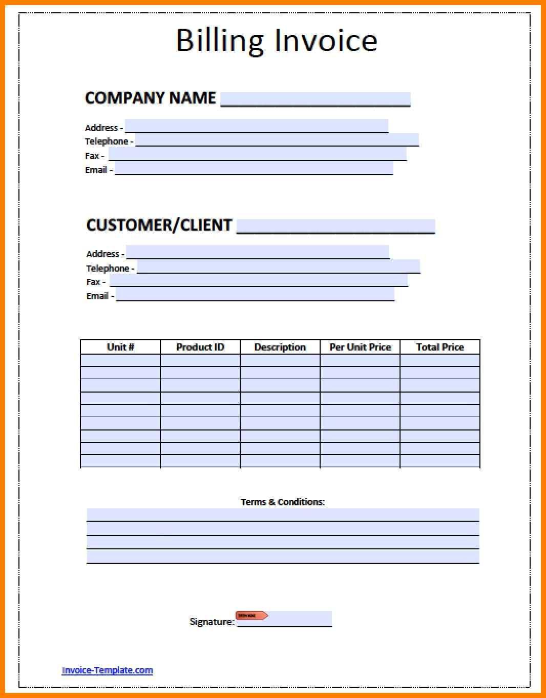 Blank Billing Invoice Template Pdf