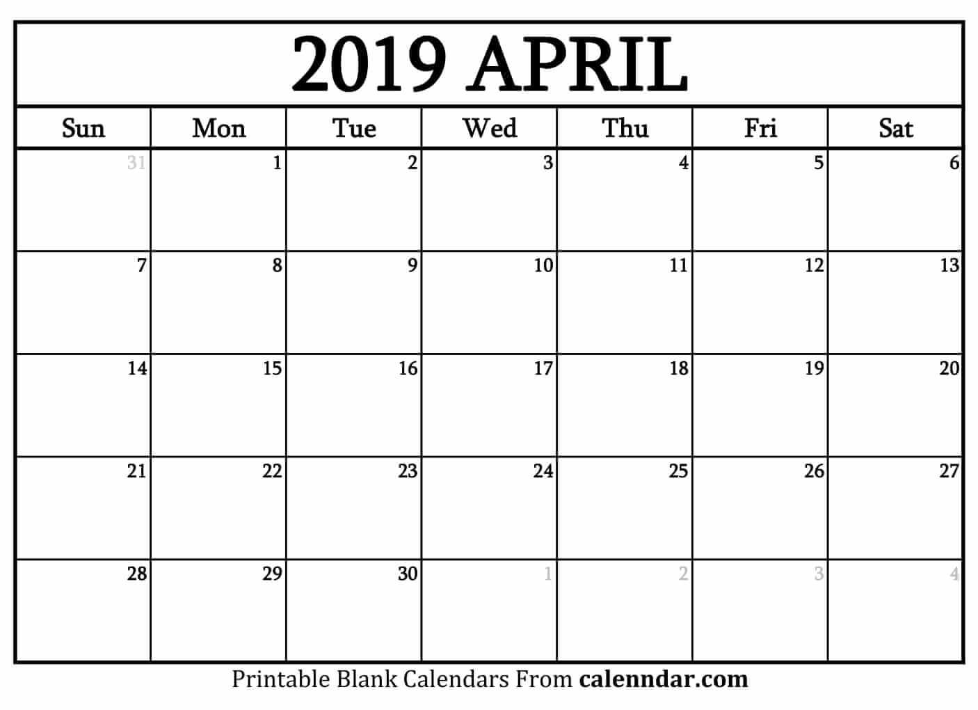 Blank Calendar Templates 2019