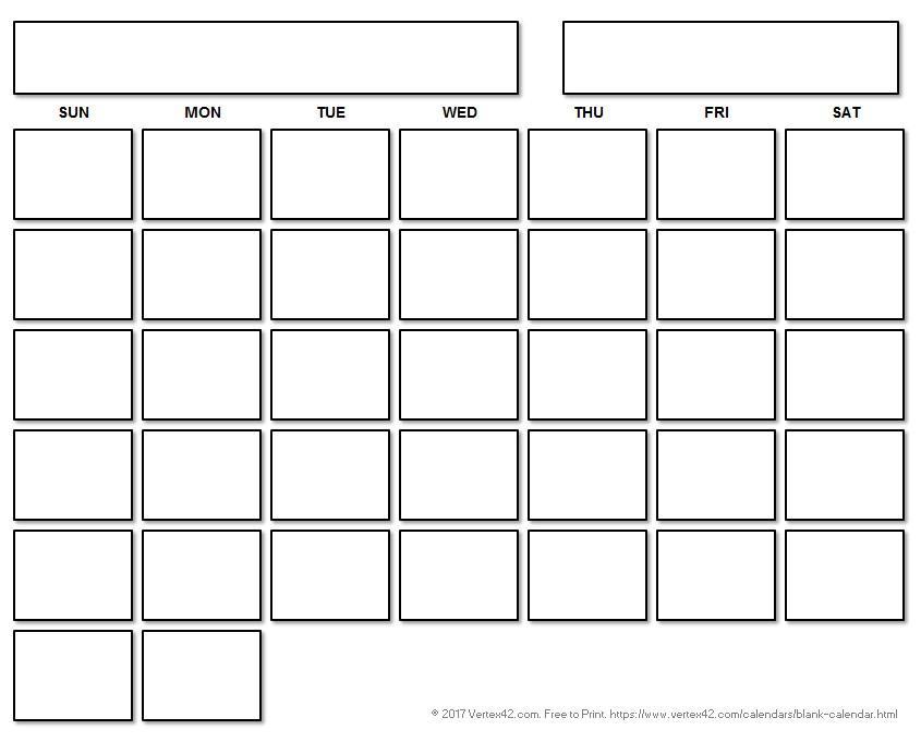 Blank Calendar Templates Free Printable