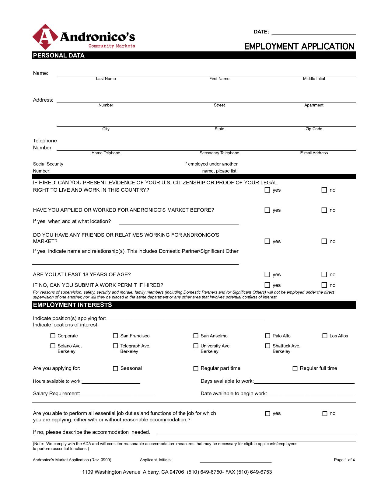 Blank Employment Application Template