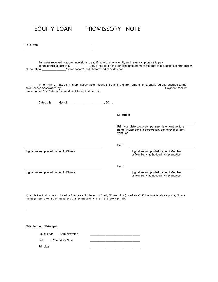 Blank Promissory Note Template Word