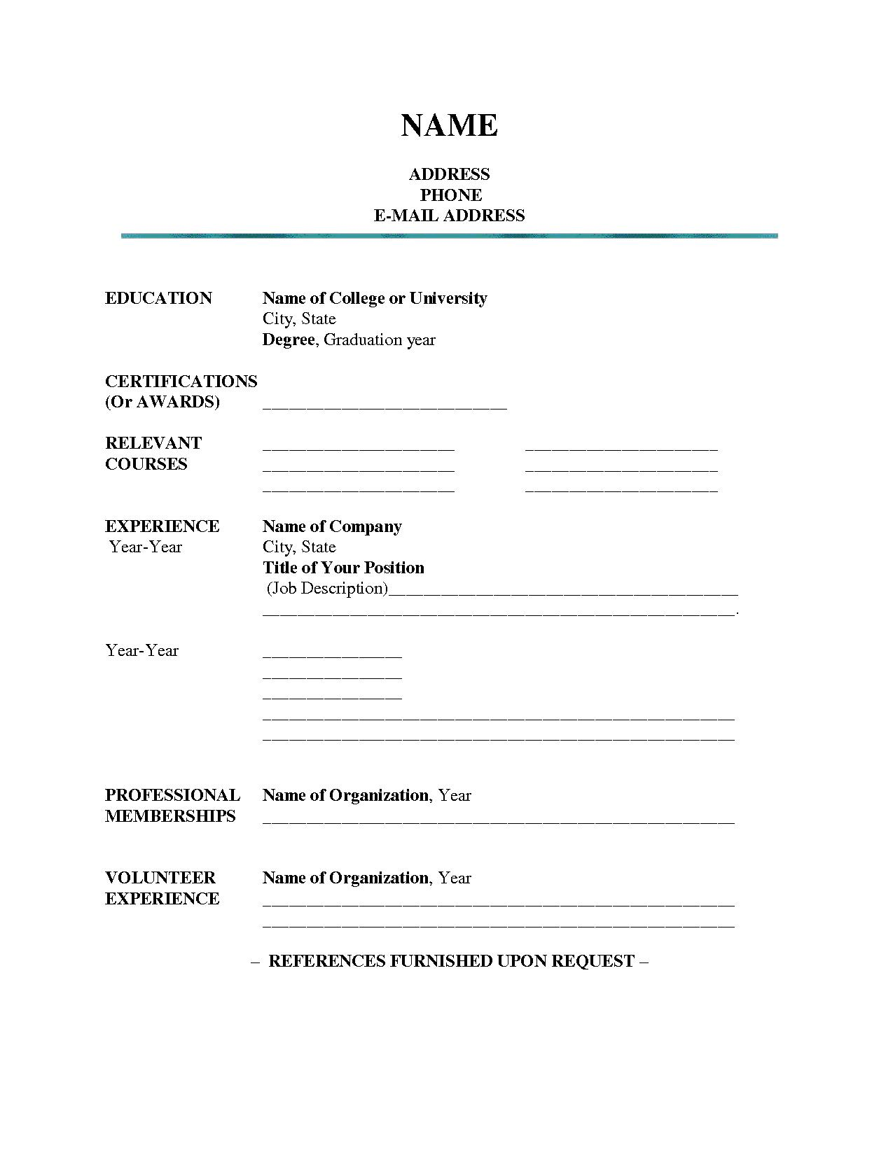 Blank Resume Templates For Students