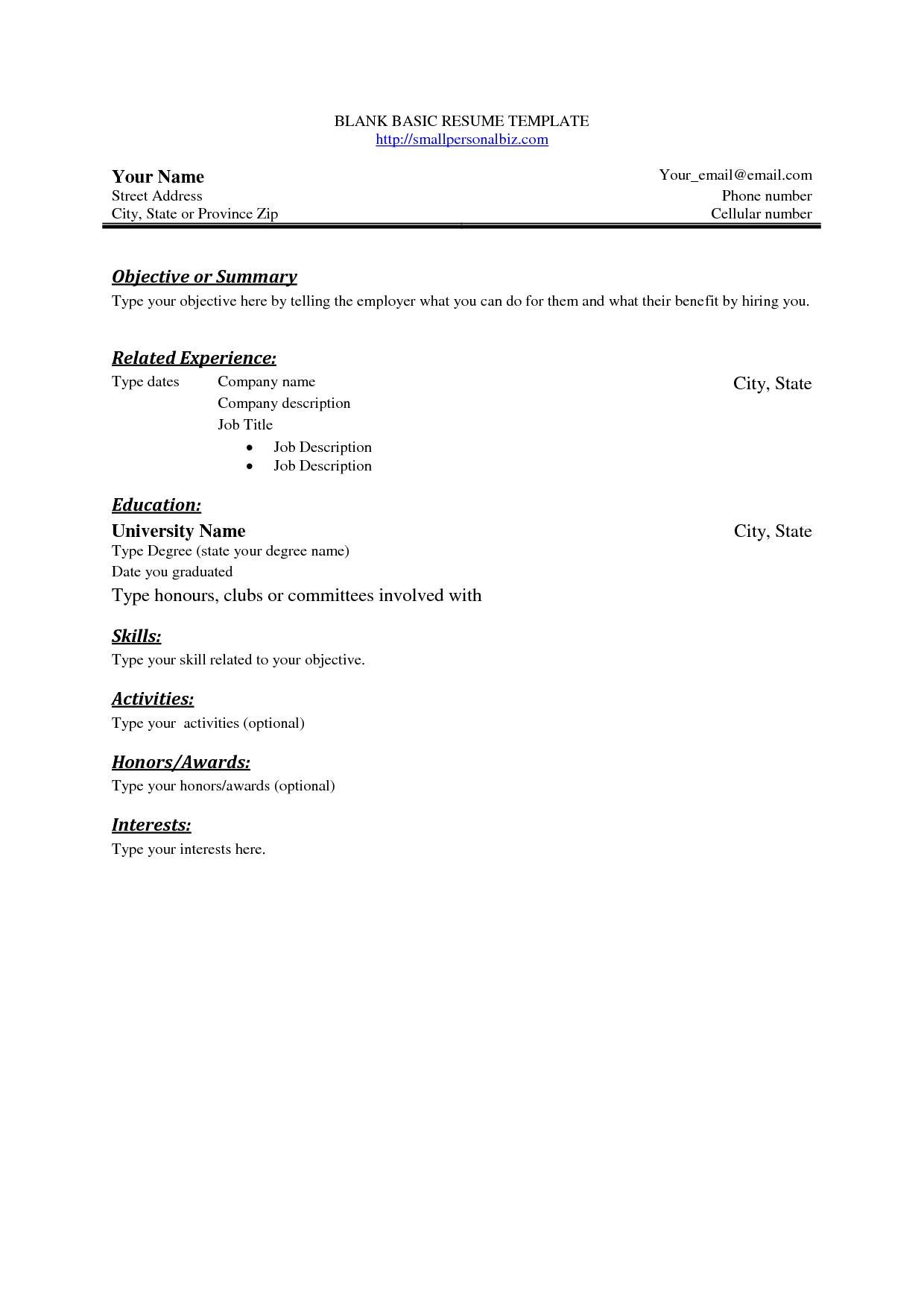 Blank Sample Resume