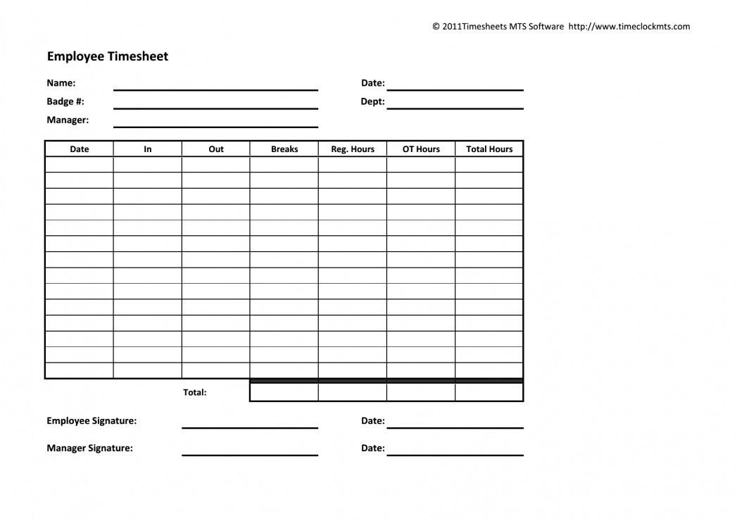Blank Timesheet Template - Templates #47827 | Resume Examples