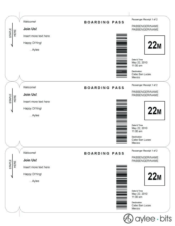 Boarding Pass Save The Date Template Download