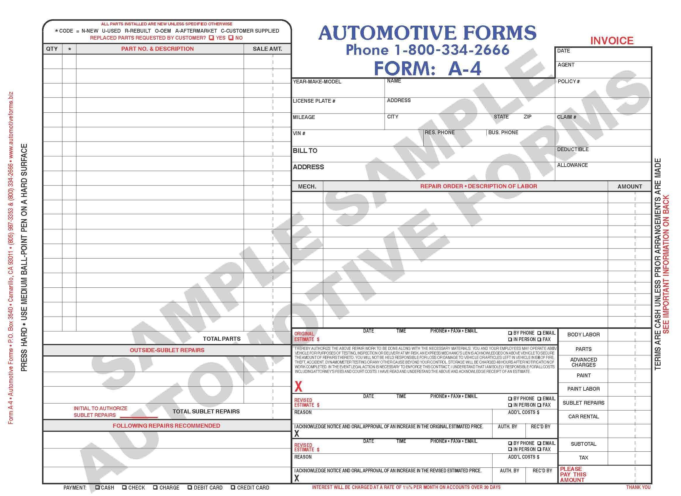 Body Shop Invoice Template