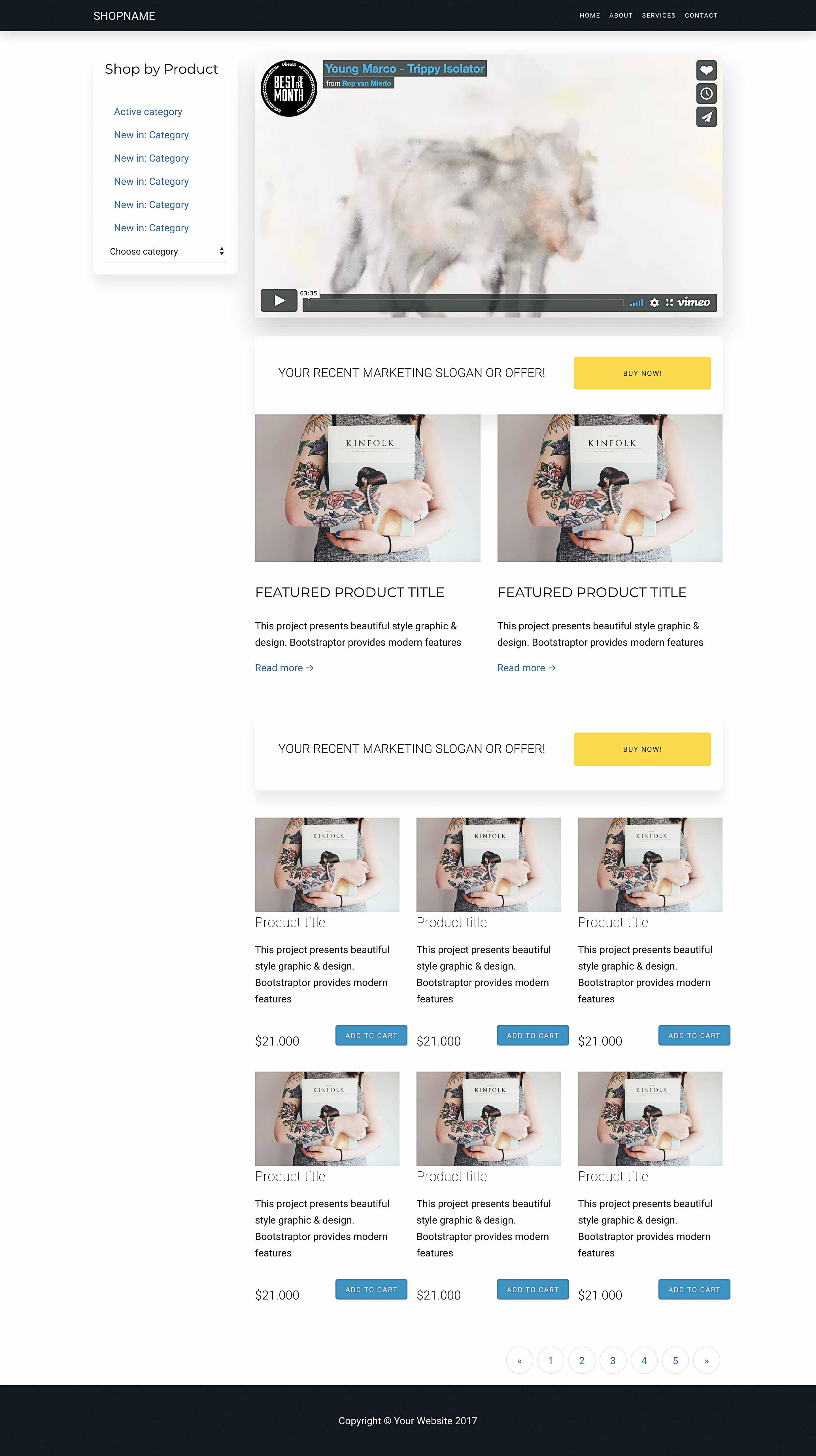 Bootstrap 4 Template Ecommerce