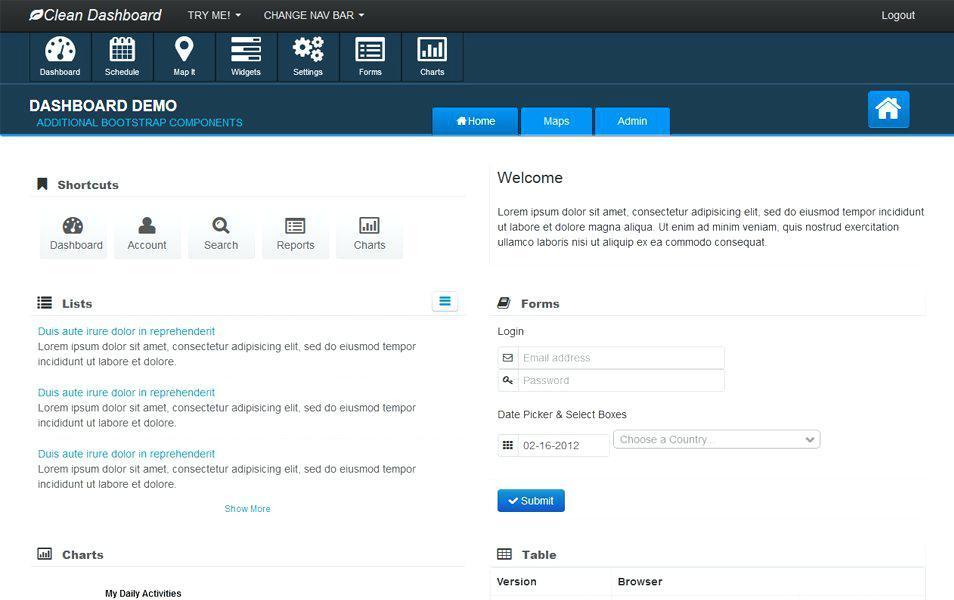 Bootstrap Dashboard Templates W3schools
