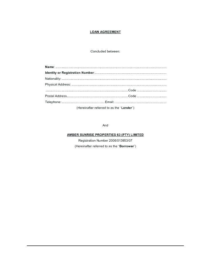 Borrowing Money Contract Sample