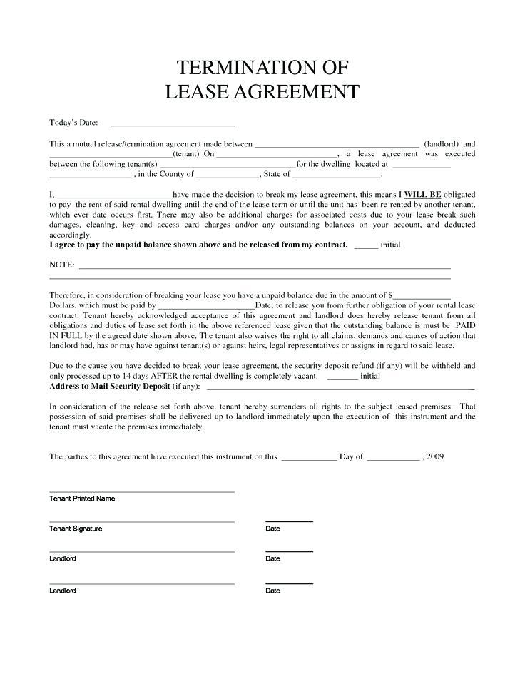 Breaking Lease Agreement Letter Template