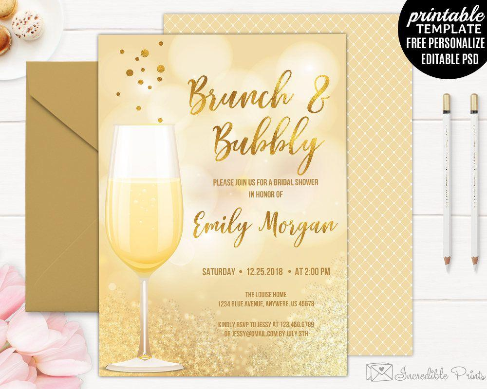 Brunch And Bubbly Invitation Template