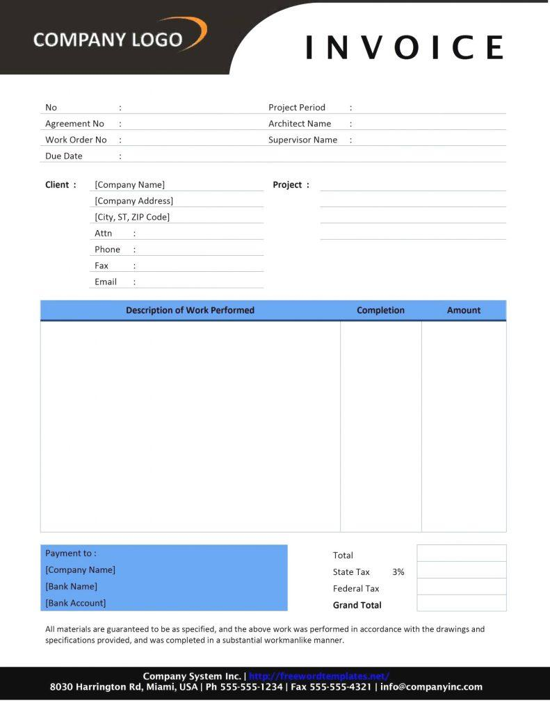 Builders Invoice Template For Word