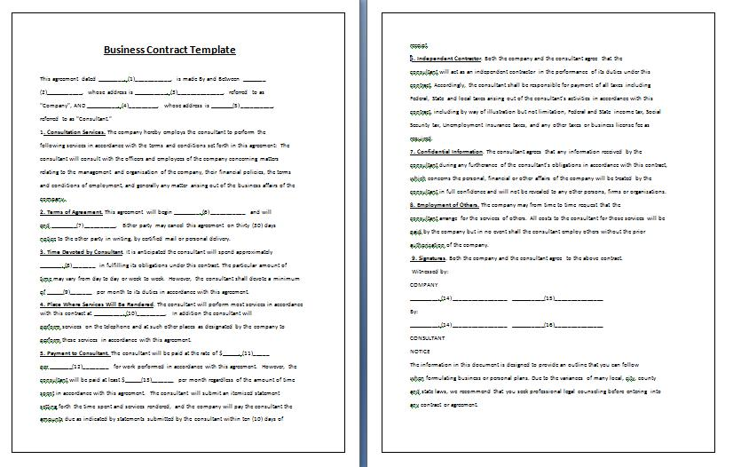 Business Contract Templates