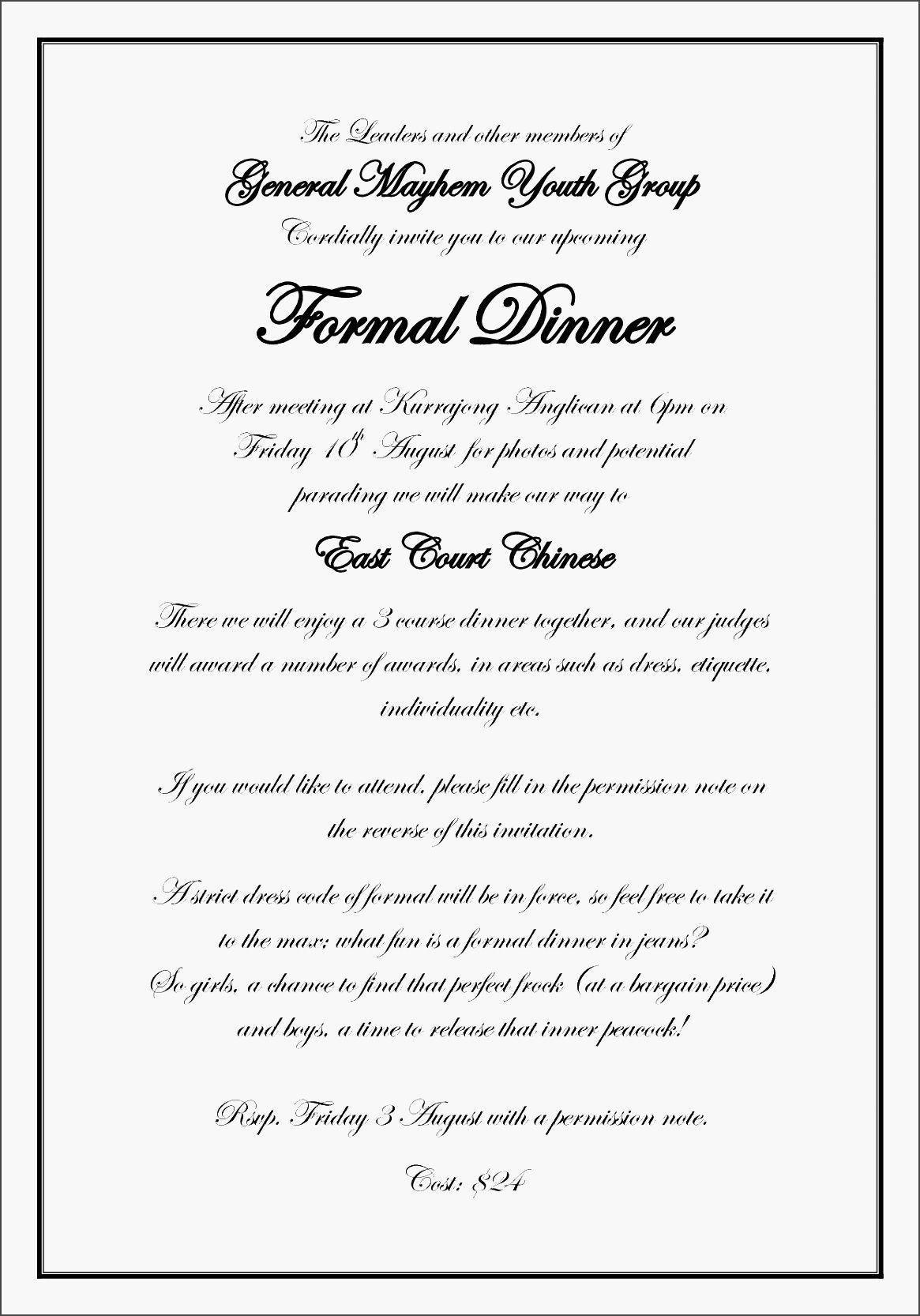 Business Dinner Invitation Email Wording