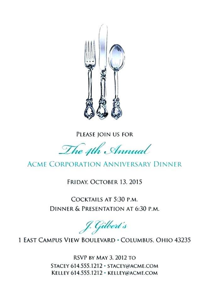 Business Dinner Invitation Wording Examples