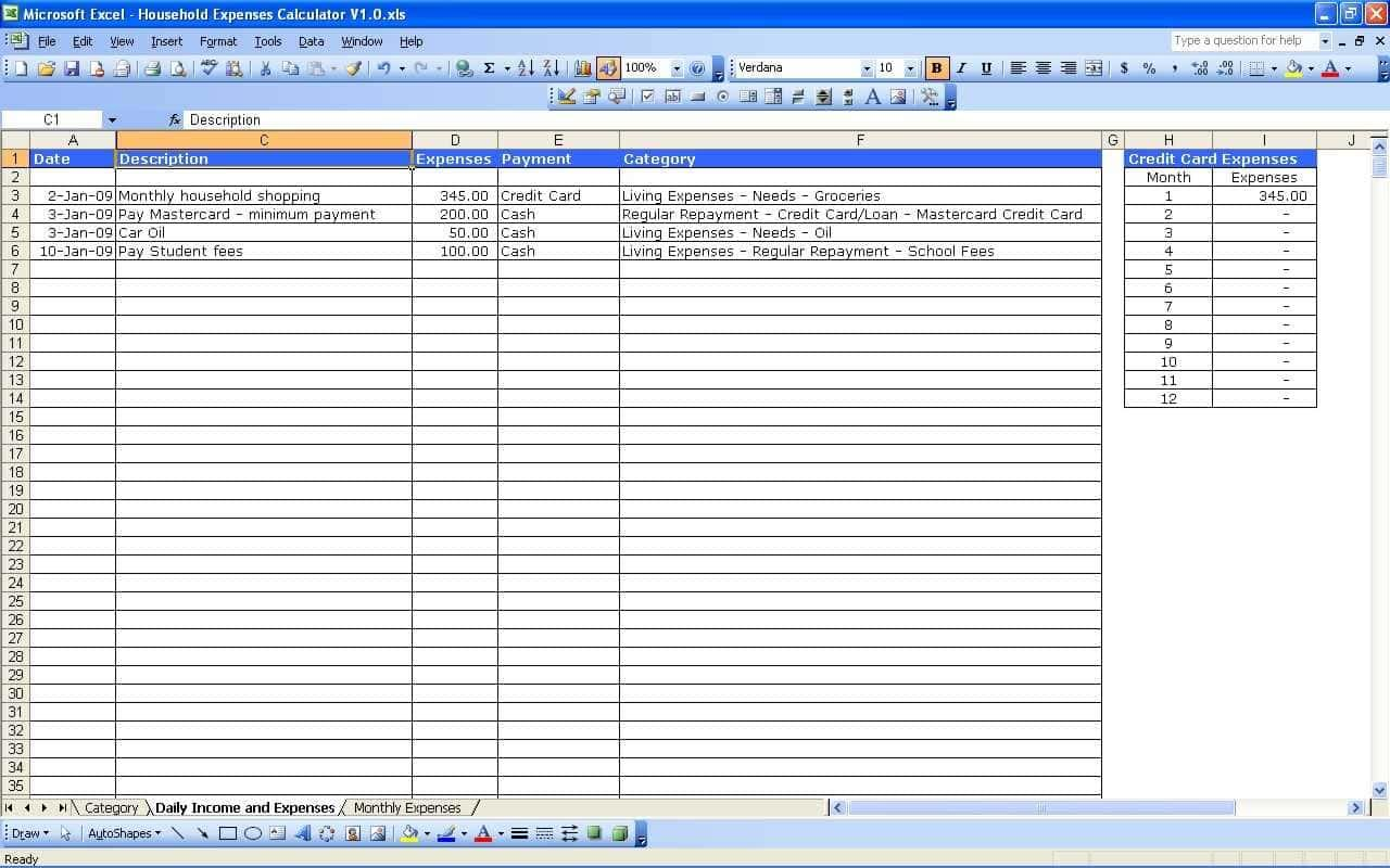 Business Income And Expense Template