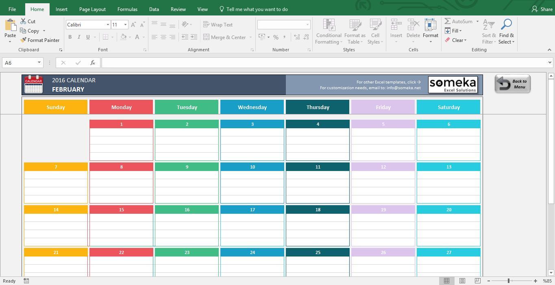 Calendar Spreadsheet Template Excel