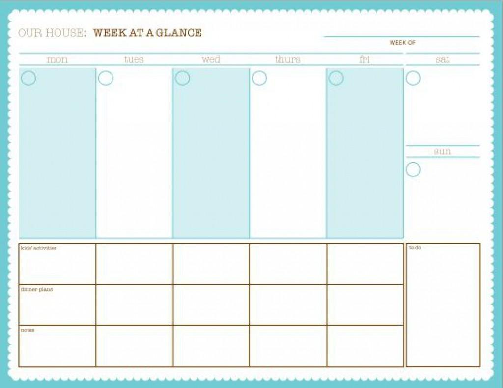 Calendar Week At A Glance Printable