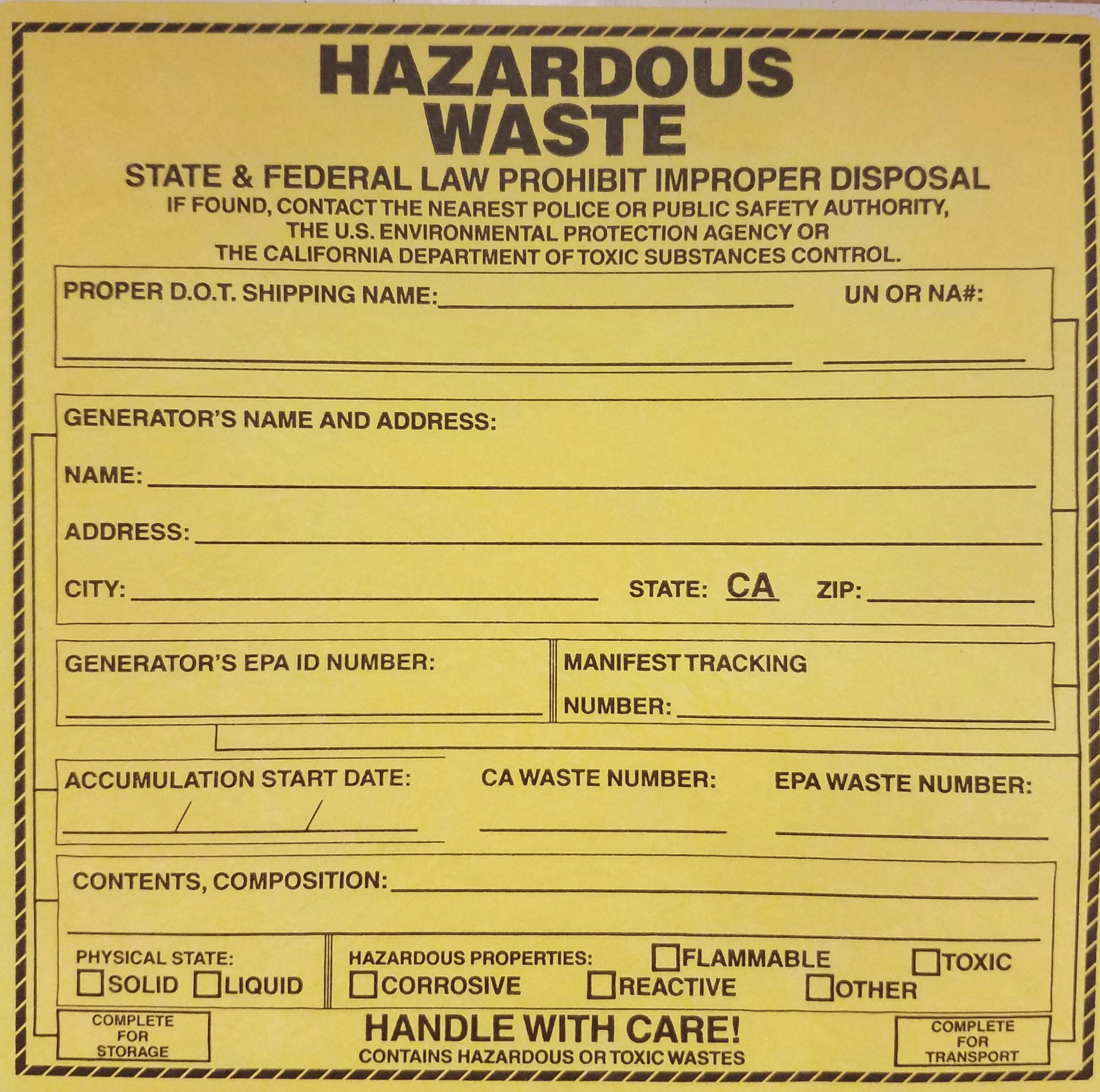 California Hazardous Waste Label Template