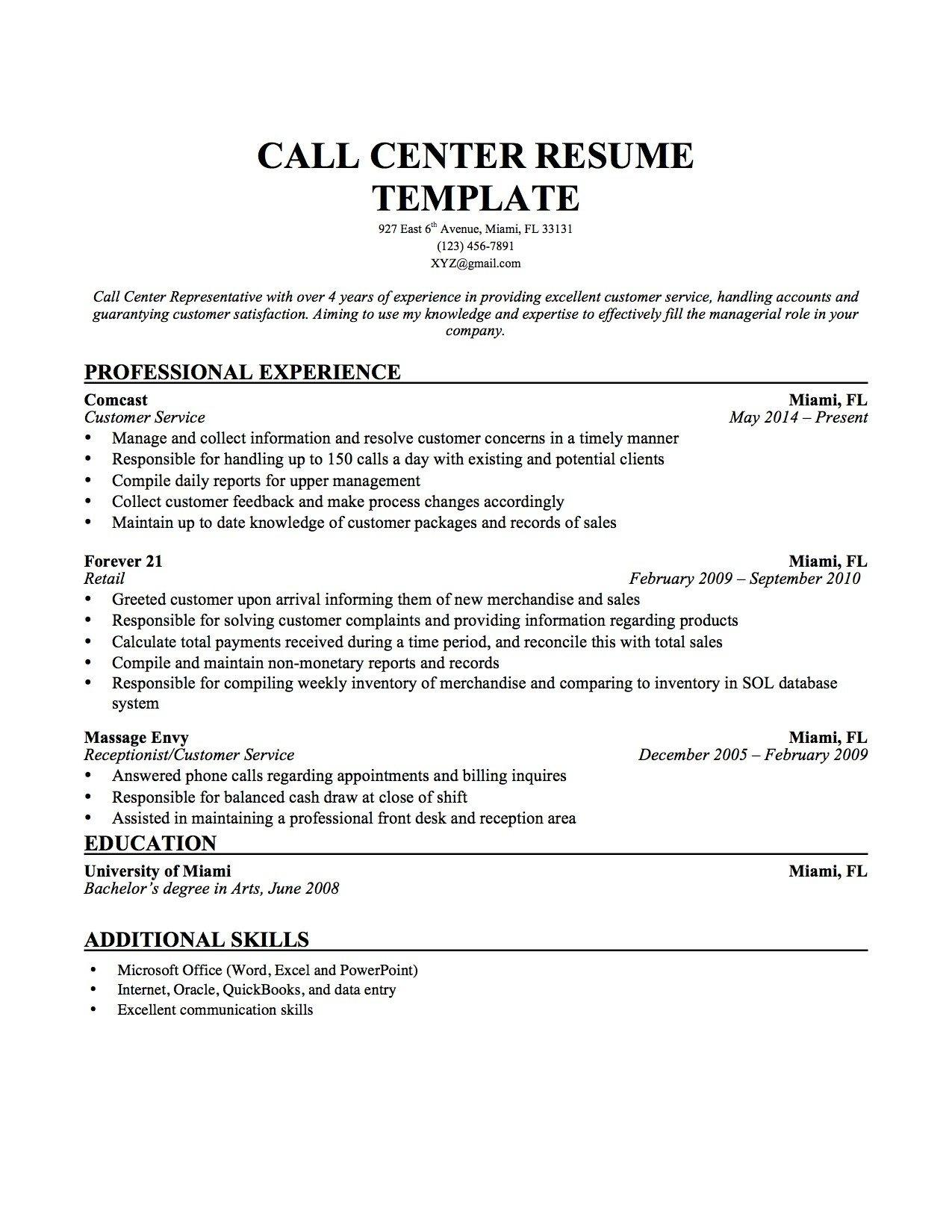Call Center Representative Resume Templates