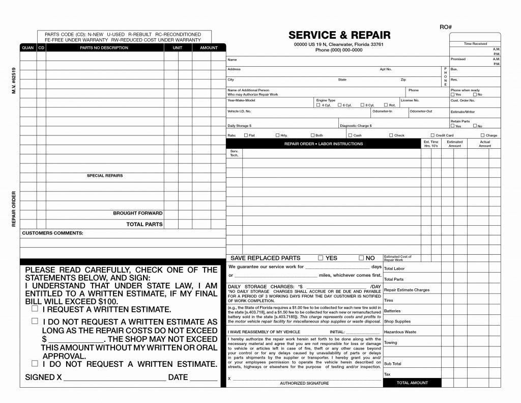 Car Body Repair Invoice Template