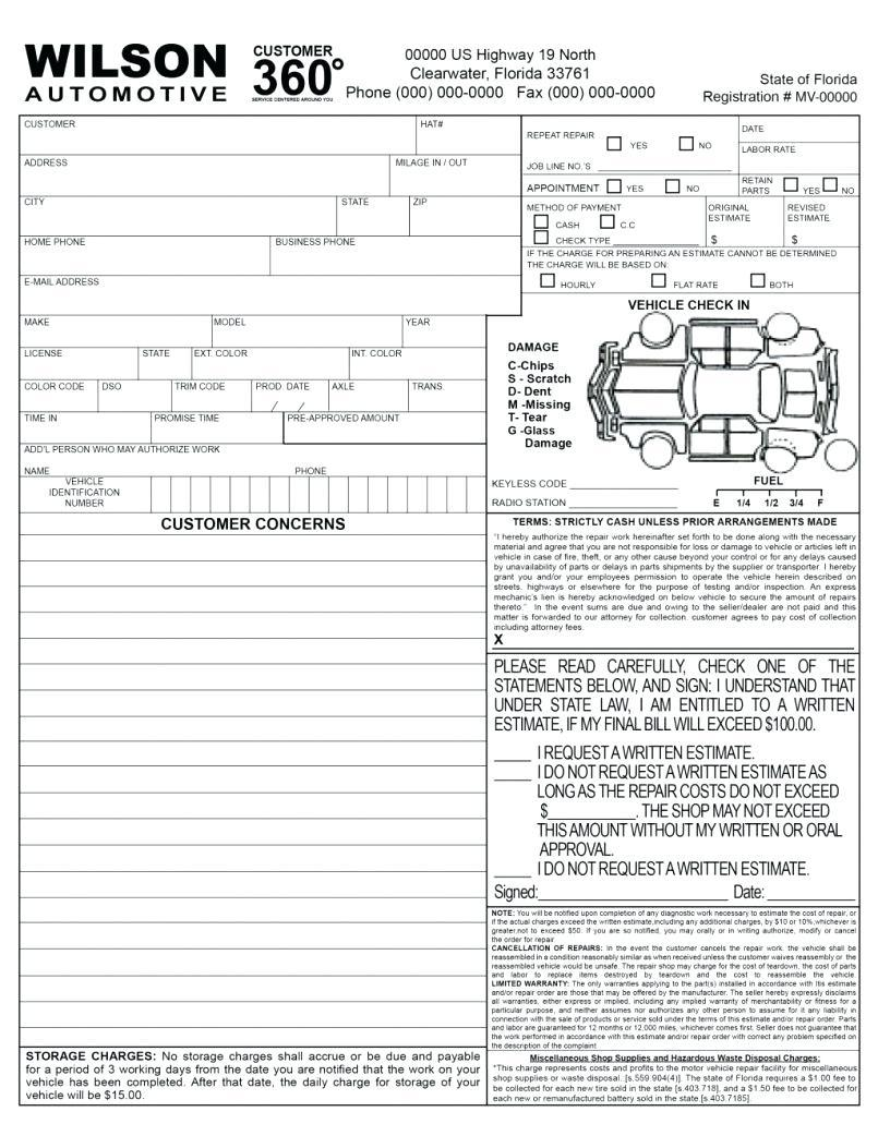 Car Body Shop Invoice Template