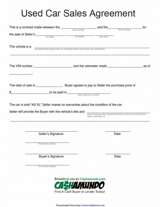 Car Sale Agreement Template South Africa