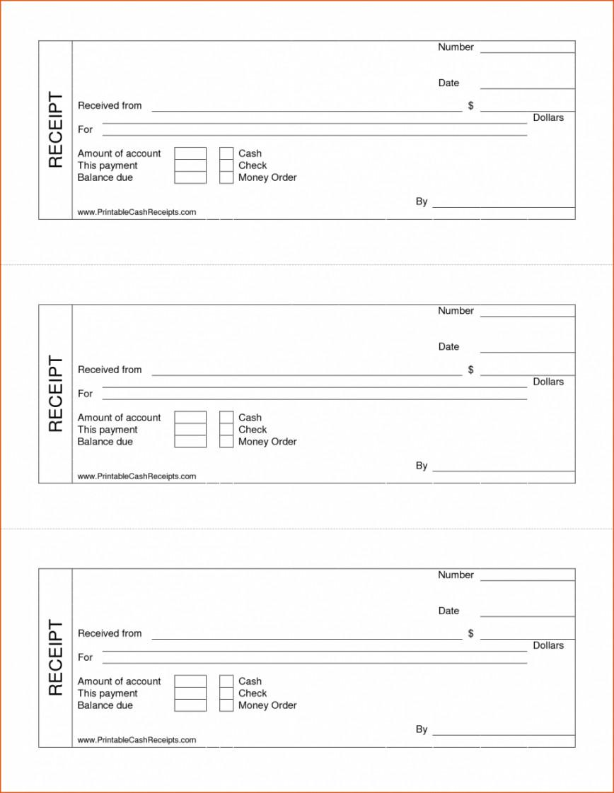 Cash Receipt Template Free Uk