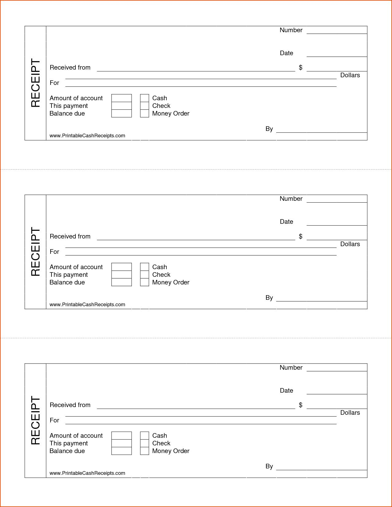 Cash Receipt Template Sample