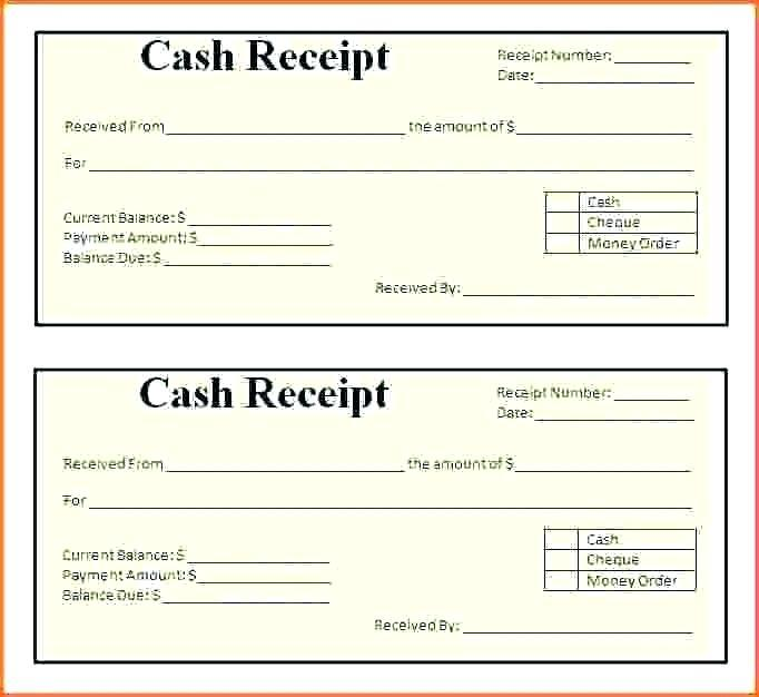 Cash Receipt Template Word Format