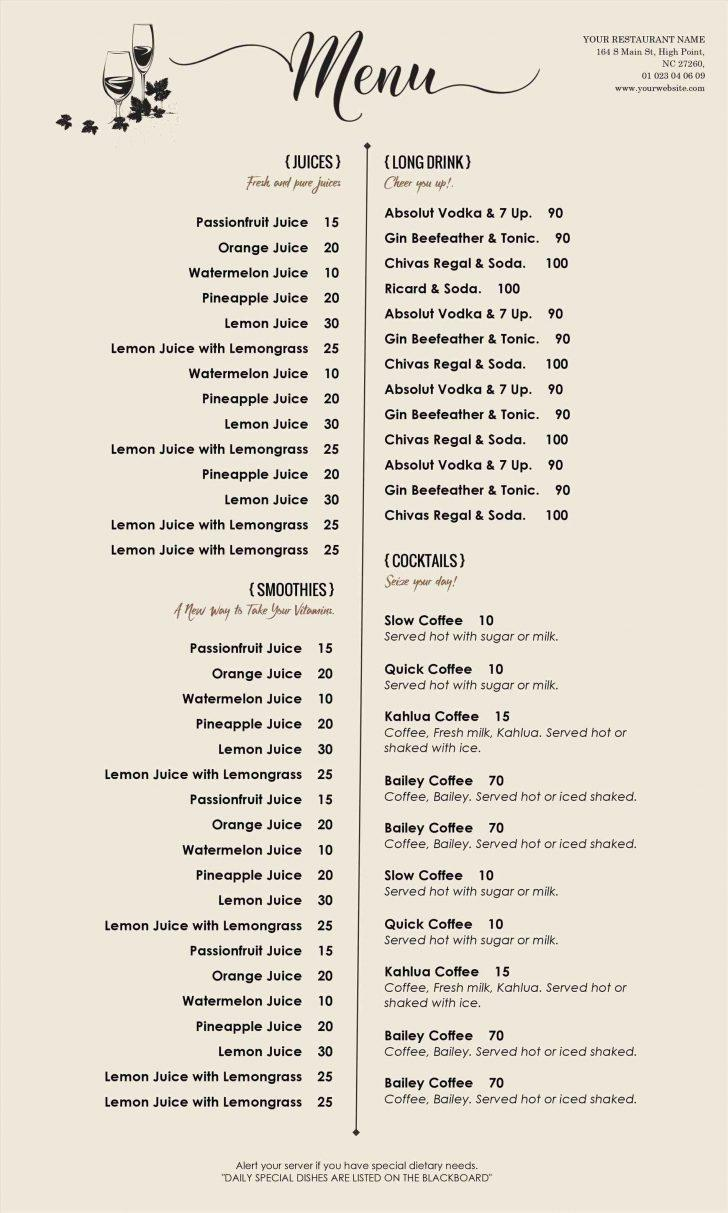 Catering Menu Templates For Microsoft Word