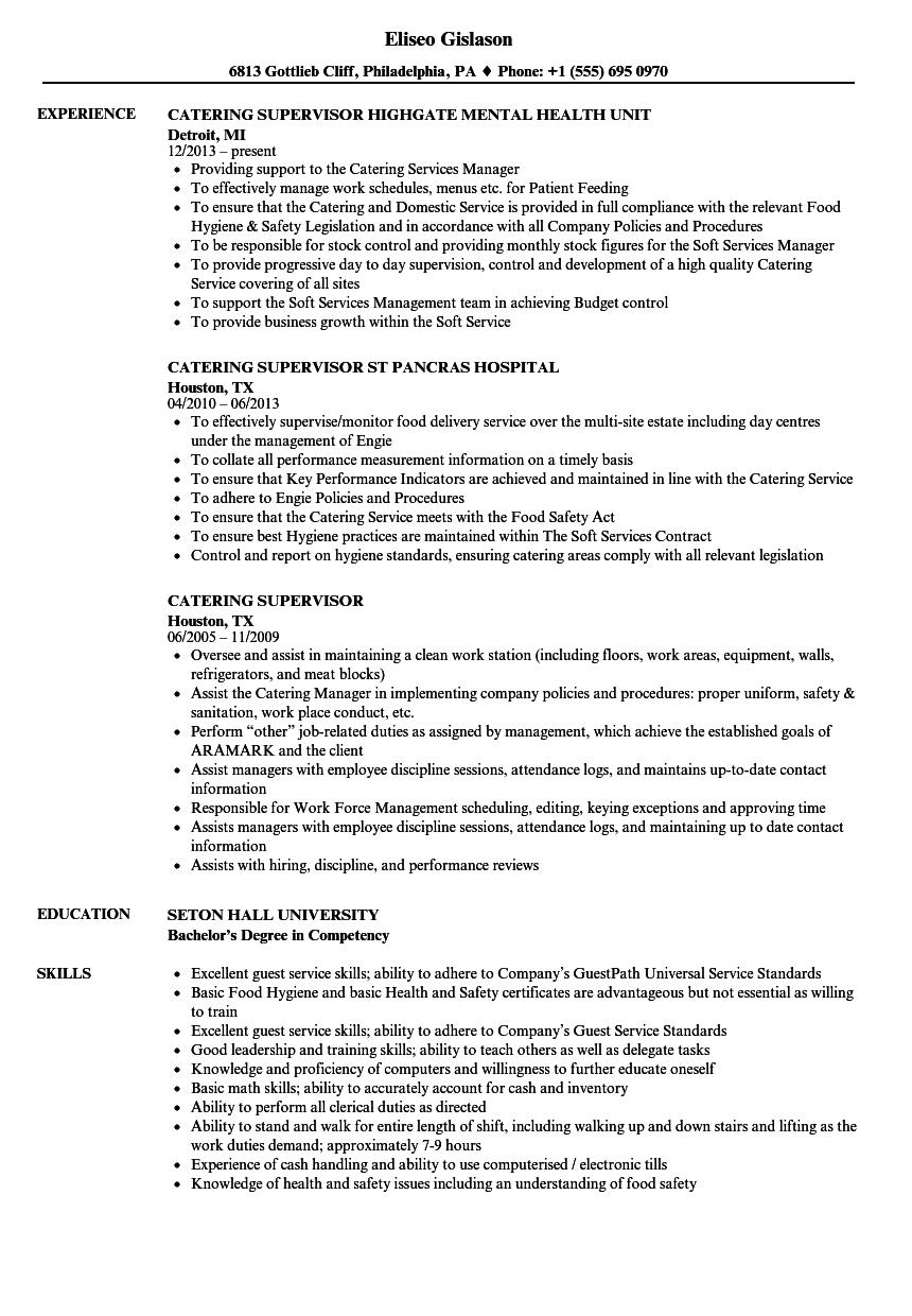 Catering Supervisor Resume Templates