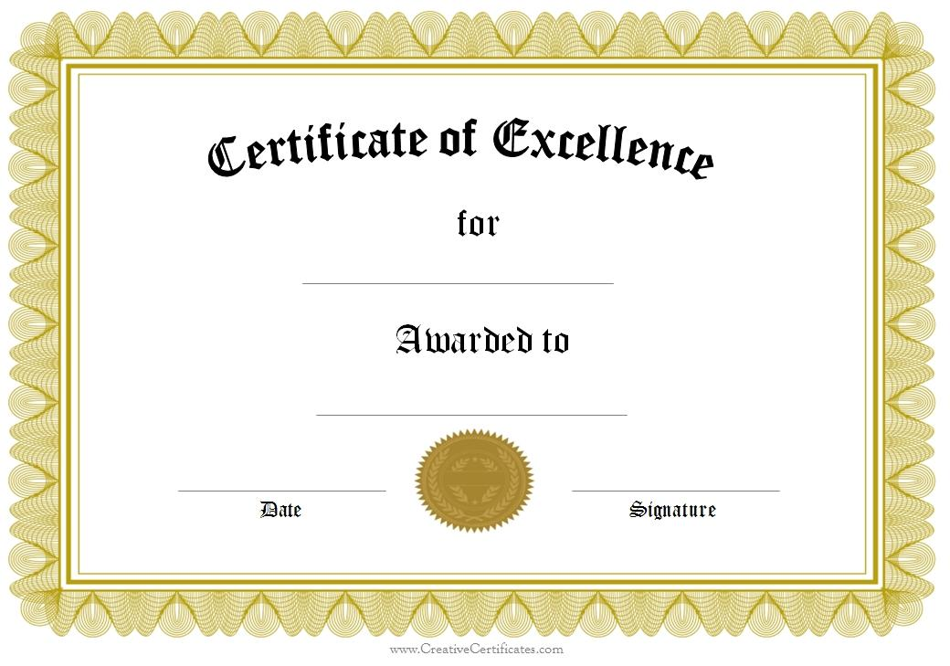 Certificate Of Award Templates