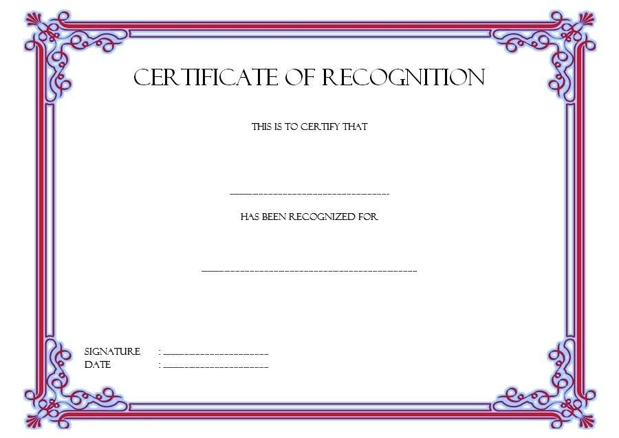 Certificate Of Recognition Templates Free Download