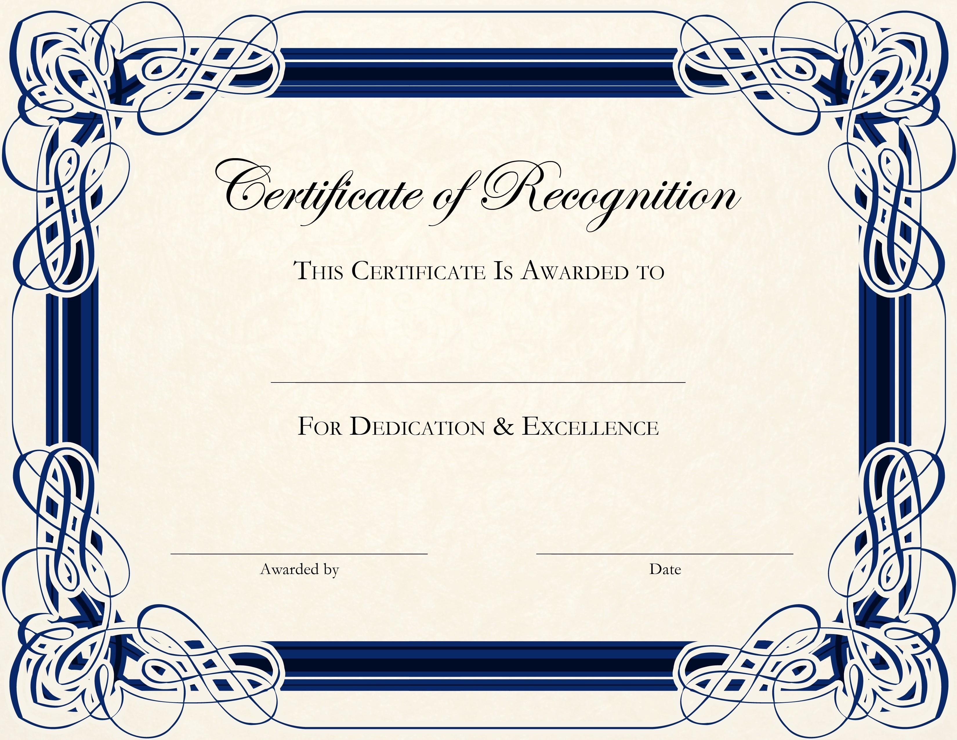 Certificates Of Awards Templates Free